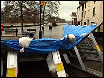 Flood barriers in Upton-upon-Severn
