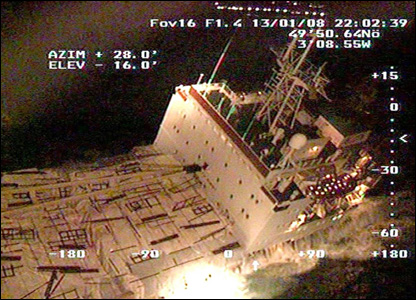 Maritime and Coastguard Agency footage of the stricken cargo ship the Ice Prince.