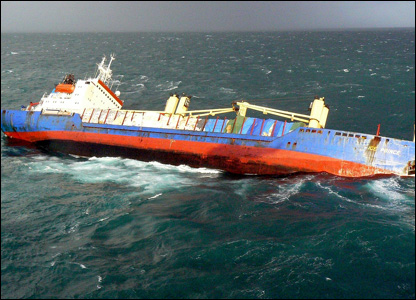 Maritime and Coastguard Agency footage of the stricken cargo ship.