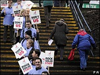 Union members protest outside Northern Rock meeting