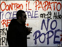 Anti-Pope banner at La Sapienza University in Rome