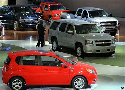 General Motors vehicles on display
