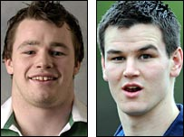 Cian Healy (left) and Jonathan Sexton