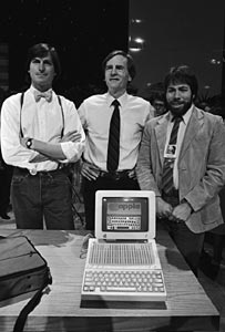 Steve Jobs, John Sculley, Steve Wozniak