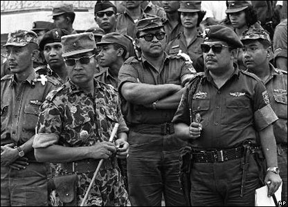 Maj. Gen. Suharto, left, Oct. 6, 1965