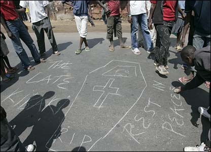 Opposition supporters in Nairobi drew a symbolic coffin of Mr Kibaki