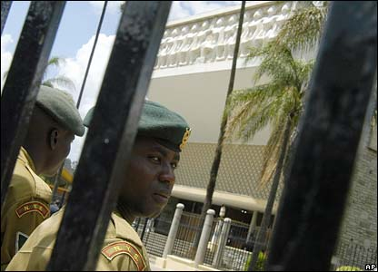 Police guard the parliament building in Nairobi