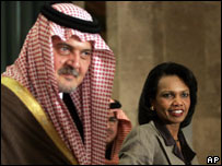 Saudi Foreign Minister Saud al-Faisal and Condoleezza Rice