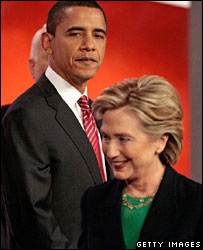Barack Obama and Hillary Clinton after the Democratic debate on 5 Jan 2008