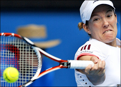 Top seed Justine Henin chases her 30th successive win when she takes on Russia's Olga Poutchkova