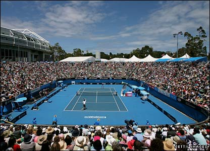 Temperatures soar again at Melbourne Park as Jo-Wilfried Tsonga takes on American player Sam Warburg