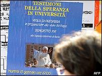 Cartel en universidad italiana.