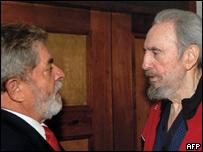 Lula y Fidel Castro