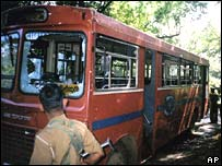 The bombed bus in Buttala, 16 January 2008