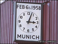 The memorial clock at Old Trafford shows the time of the air crash on 6 February 1958