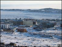 The town of Iqaluit, Nunavut Territory, Canada, 321km south of the Arctic Circle