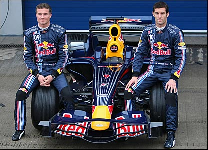Red Bull's David Coulthard and Mark Webber