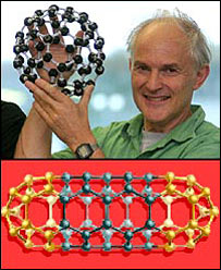 Nobel laureate Sir Harry Kroto holds buckyball model. Images: PA/BBC