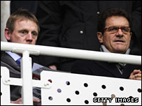 Capello watched the FA Cup replay between Reading and Tottneham alongside U21 boss Stuart Pearce