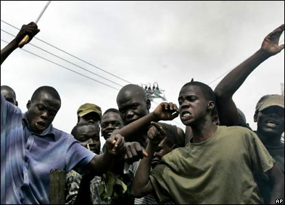A crowd of men in Kisumu Western Kenya