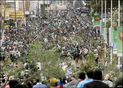 Crowds in Eldoret, Western Kenya