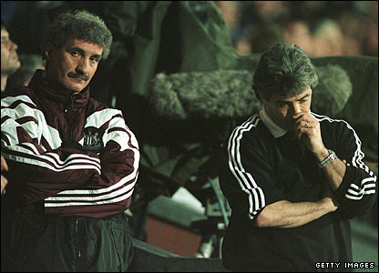 Assistant manager Terry McDermott and Keegan in despair after Newcastle lose to Blackburn in April 1996
