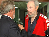 Cuban leader Fidel Castro, right, meeting Brazil's President Lula on Tuesday in a photo released  by state media