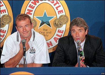 Alan Shearer attends a press conference with Kevin Keegan