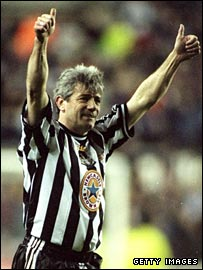 Kevin Keegan playing in a testimonial at Newcastle