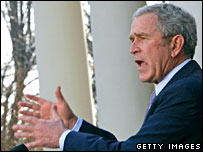 George W Bush speaks outside the White House (file image)