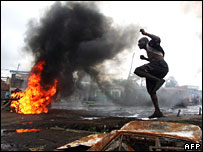 Protests in the Kibera slum of the Kenyan capital Nairobi on Wednesday