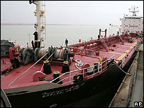 A brand-new Iraqi oil tanker, the Dijlah, docks in Basra in December after completion in China