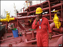 An oil-worker aboard the Dijlah, a new Iraqi oil tanker