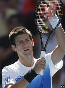 Number three seed Novak Djokovic gestures to the crowd after his crushing victory over Simone Bolelli