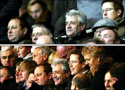 Kevin Keegan in the stands at Newcastle for the FA Cup game against Stoke