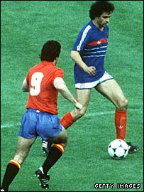 Michel Platini in action in 1984
