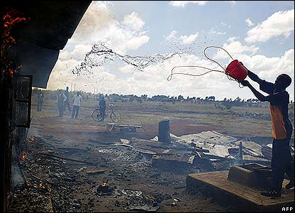 In Eldoret people tried to put out fires and clear up