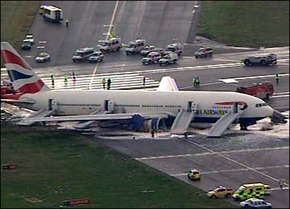 The stricken plane on the runway