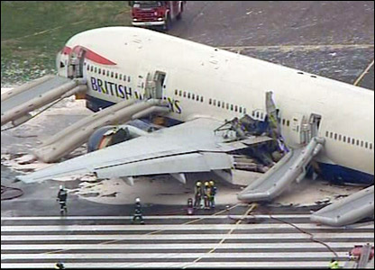The crashed plane on the runway