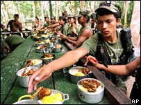 Rebels at a Farc camp in a file photo from 2001