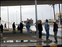 Immigrants under a bridge in Tripoli