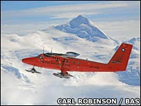 Research aeroplane over Antarctica. Image: Carl Robinson / British Antarctic Survey