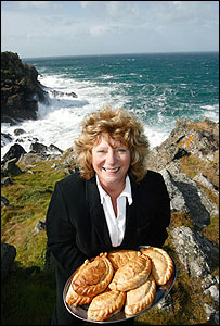 Angie Coombs with Cornish pasties: Picture Simon Burt, Apex