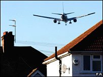 A plane descends near Heathrow in November 2007