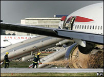 The crashed plane at Heathrow