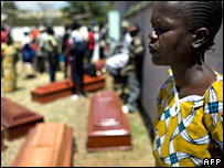 A mother grieves for her son, killed in post-election violence, in Kisumu, Kenya, on 11 January