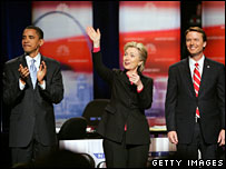 Barack Obama, Hillary Clinton and John Edwards take part in a debate in Las Vegas, Nevada, 15 Jan 2008