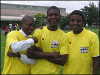 Kelly Jones Kaila (left), with his friends Kasumba and Malanga