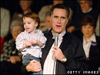 Mitt Romney holds grandson Parker on the campaign trail in South Carolina
