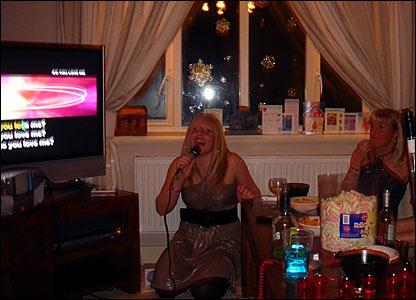 Gail Emms singing karaoke